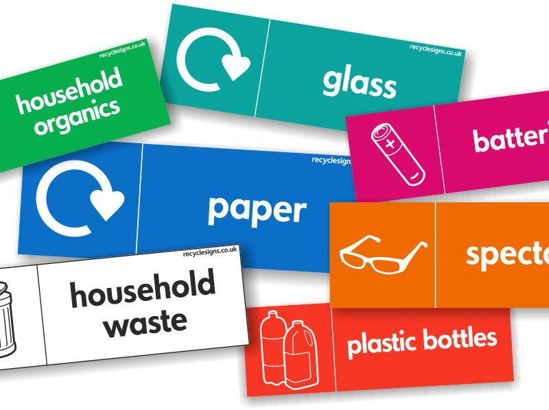 RANGE OF RECYCLING STICKERS AND SIGNS - LANDSCAPE