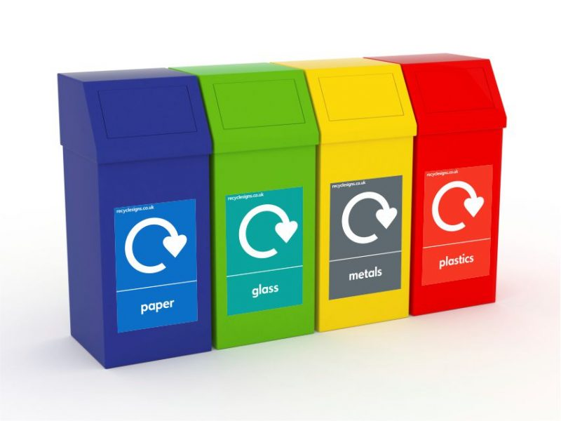 RANGE OF SELF-ADHESIVE RECYCLING BIN STICKERS