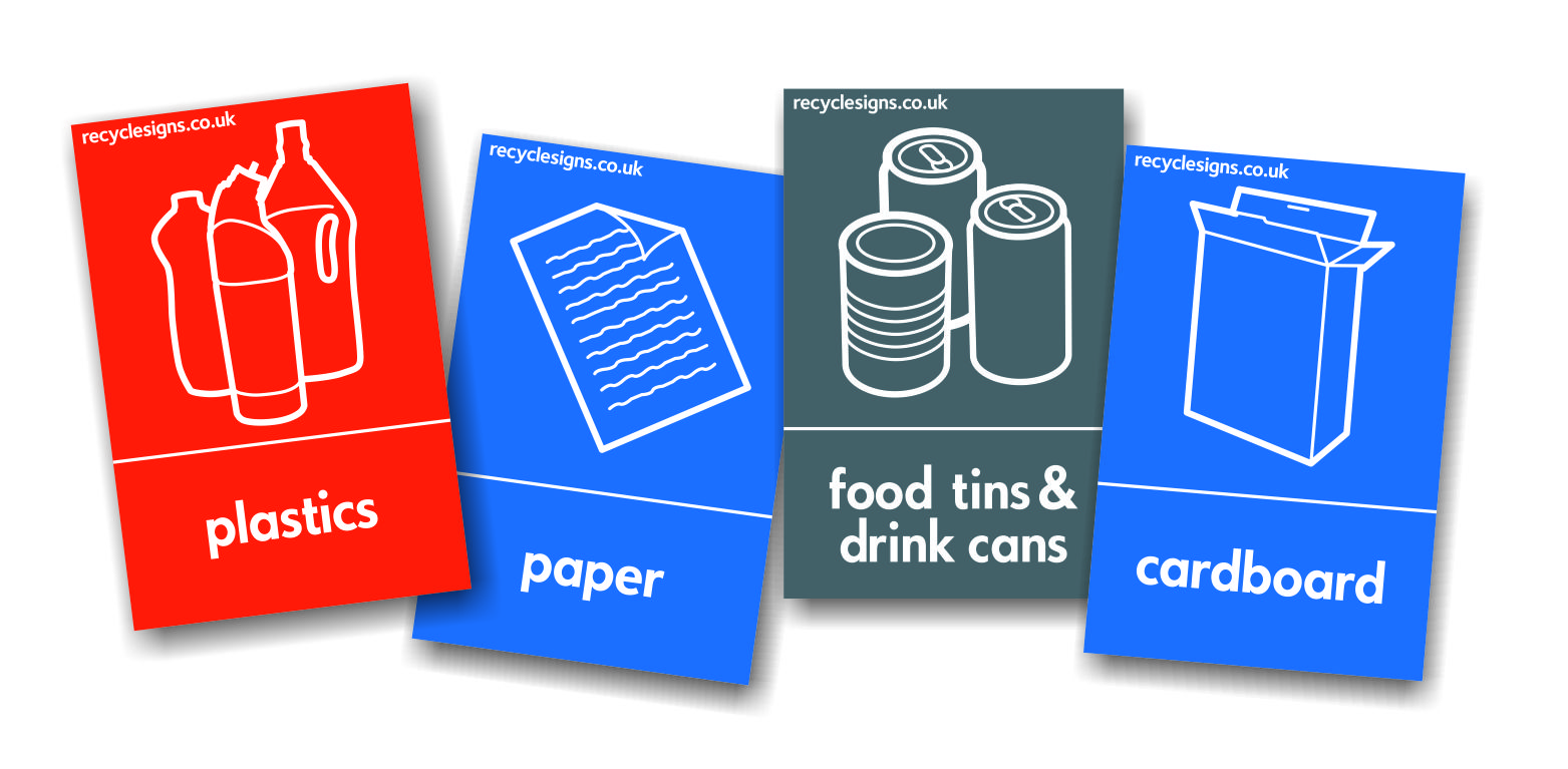 RANGE OF RECYCLING SIGNS AND STICKERS - PORTRAIT FORMAT